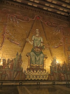 The patron of Stockholm in the golden hall